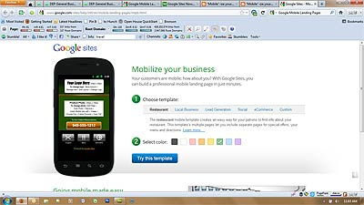 Google Sites Mobile Landing Pages
